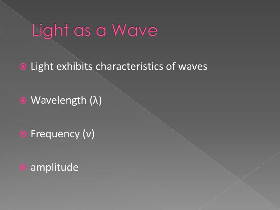 Light exhibits characteristics of waves  Wavelength (λ)  Frequency (ν)  amplitude
