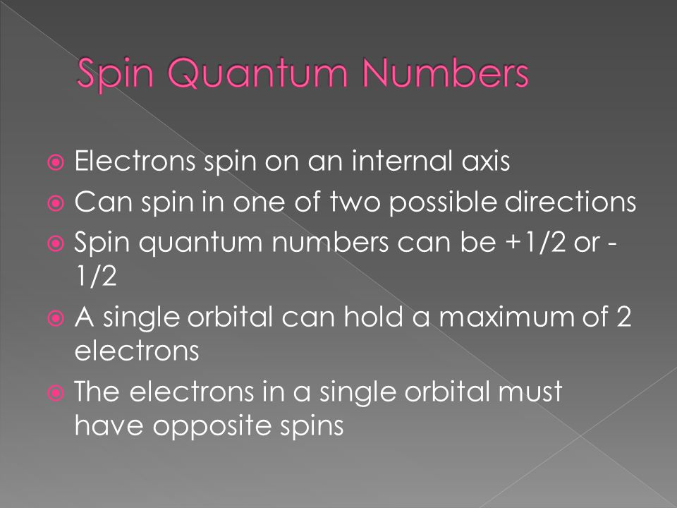  Electrons spin on an internal axis  Can spin in one of two possible directions  Spin quantum numbers can be +1/2 or - 1/2  A single orbital can h