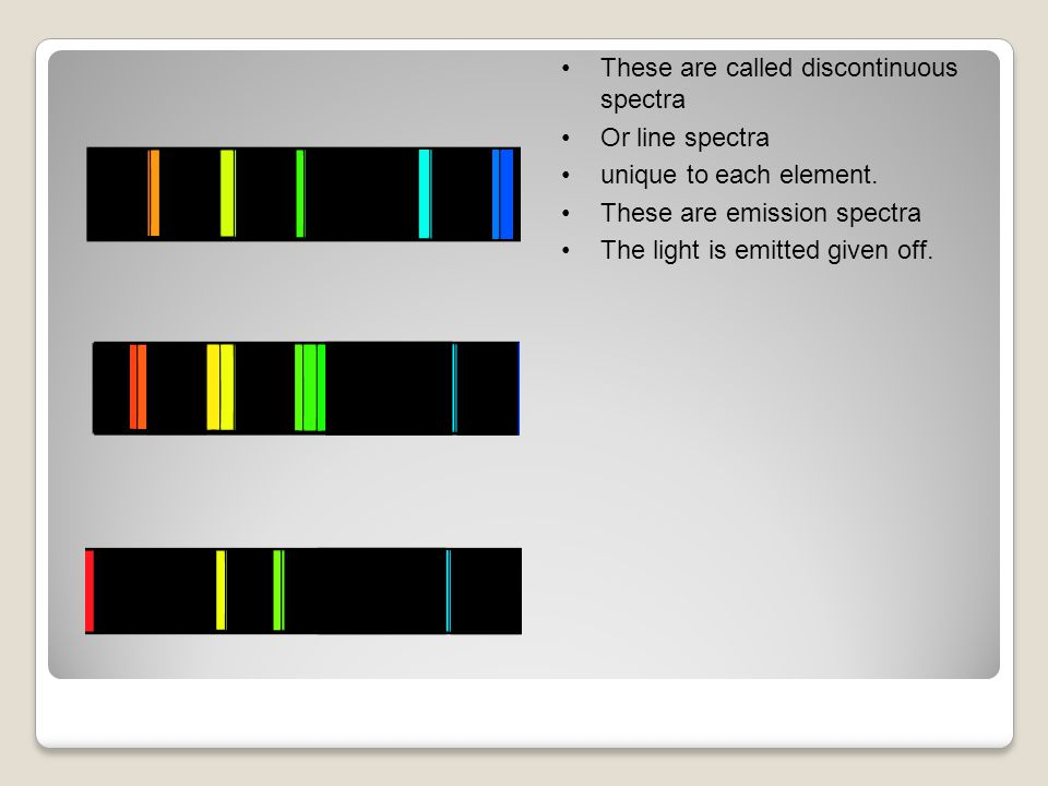 These are called discontinuous spectra Or line spectra unique to each element.