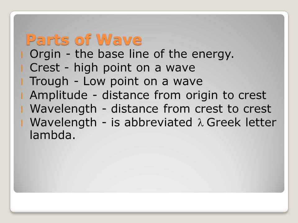 Parts of Wave l Orgin - the base line of the energy.