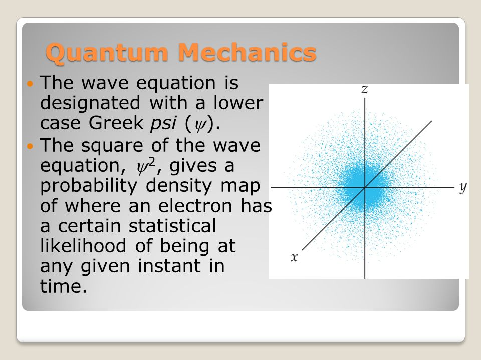 Quantum Mechanics The wave equation is designated with a lower case Greek psi ().