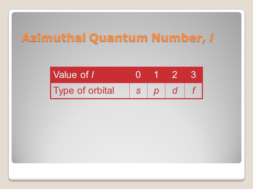 Azimuthal Quantum Number, l Value of l0123 Type of orbitalspdf