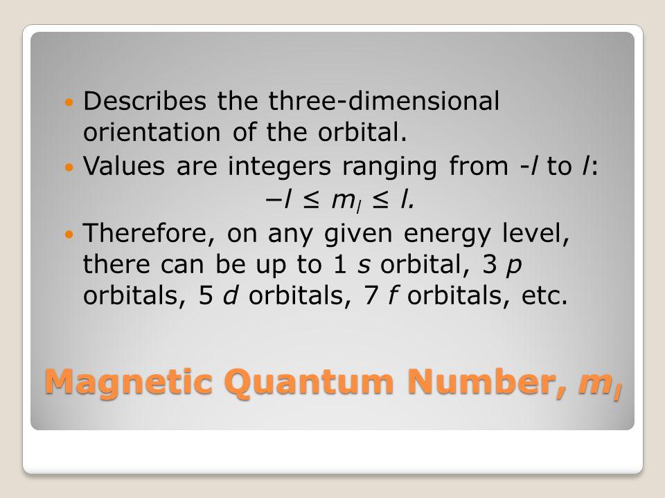 Magnetic Quantum Number, m l Describes the three-dimensional orientation of the orbital.