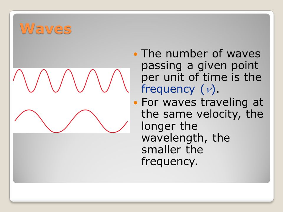 Electromagnetic Radiation All electromagnetic radiation travels at the same velocity: the speed of light (c), 3.00  10 8 m/s.