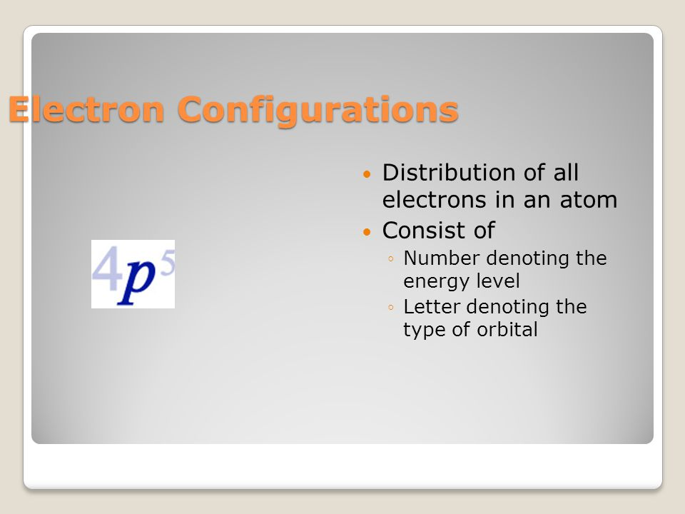 Electron Configurations Distribution of all electrons in an atom Consist of ◦Number denoting the energy level ◦Letter denoting the type of orbital