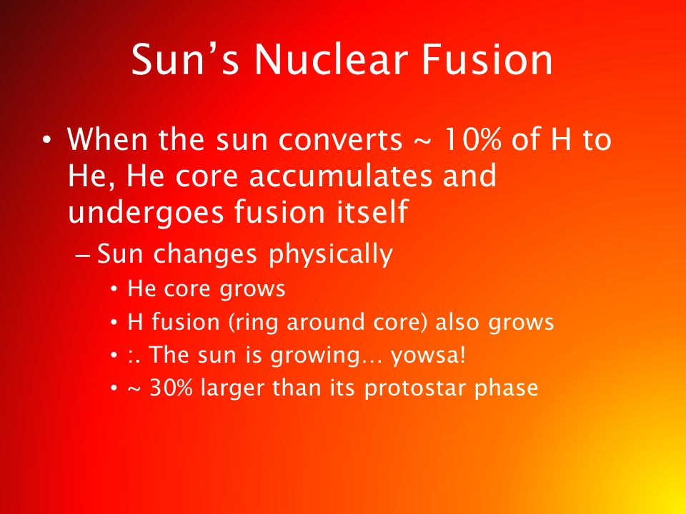 When the sun converts ~ 10% of H to He, He core accumulates and undergoes fusion itself – Sun changes physically He core grows H fusion (ring around c