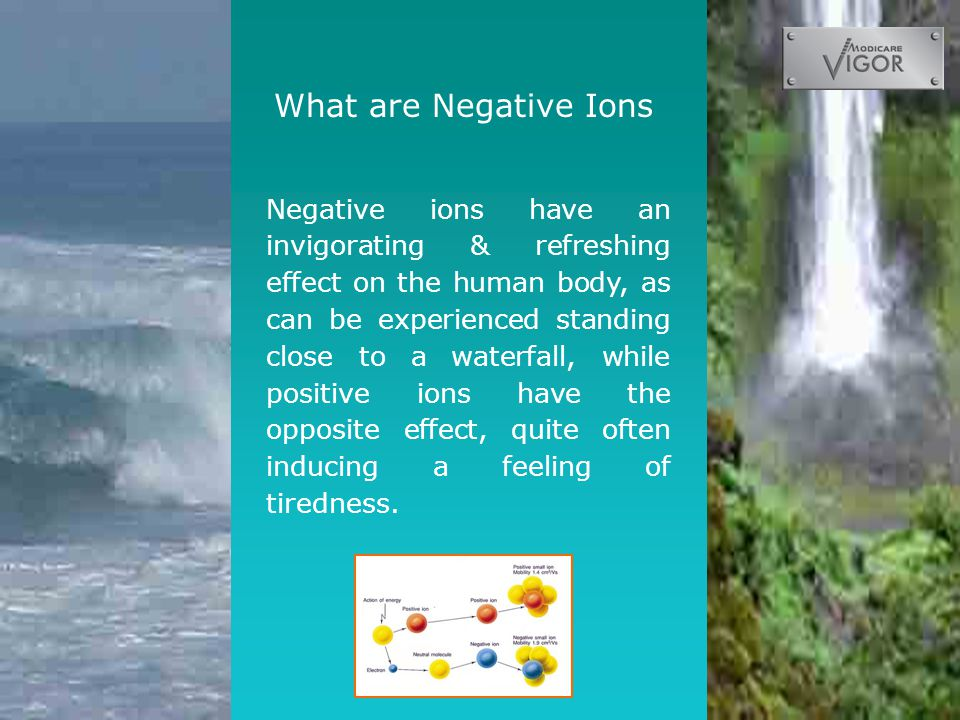 What are Negative Ions Negative ions have an invigorating & refreshing effect on the human body, as can be experienced standing close to a waterfall, while positive ions have the opposite effect, quite often inducing a feeling of tiredness.