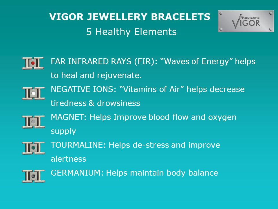 VIGOR JEWELLERY BRACELETS FAR INFRARED RAYS (FIR): Waves of Energy helps to heal and rejuvenate.