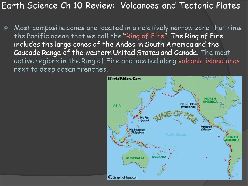 Earth Science Ch 10 Review: Volcanoes and Tectonic Plates  Most composite cones are located in a relatively narrow zone that rims the Pacific ocean t