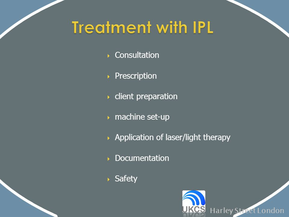  Consultation  Prescription  client preparation  machine set-up  Application of laser/light therapy  Documentation  Safety Harley Street London