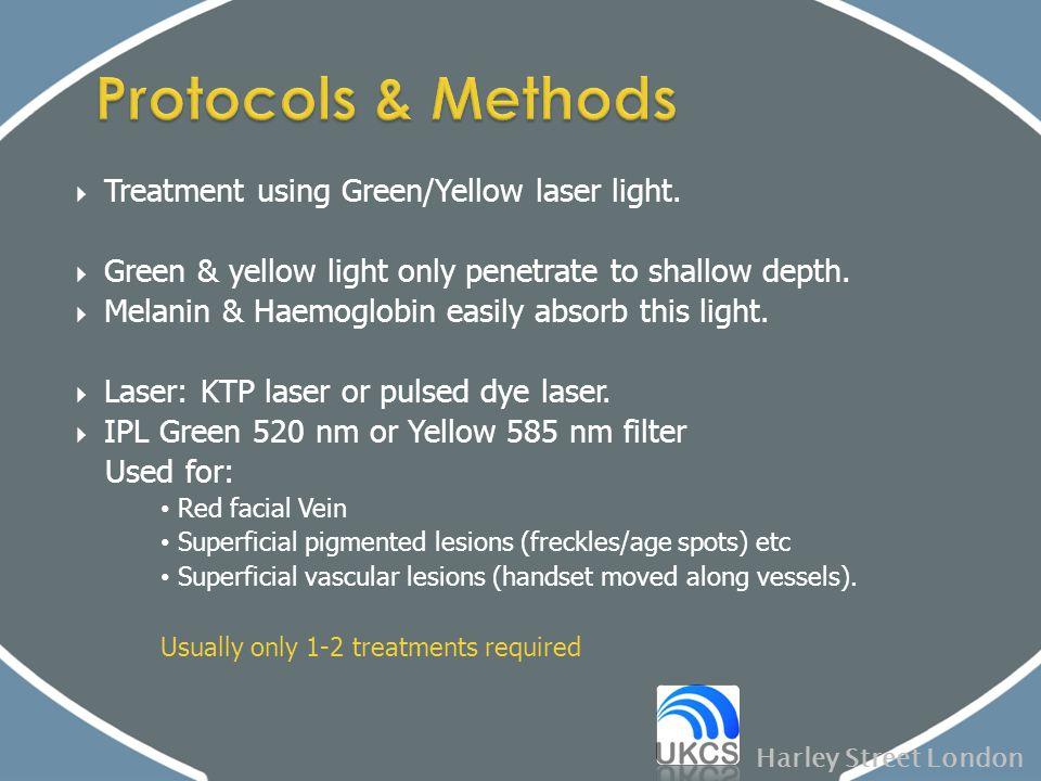  Treatment using Green/Yellow laser light.  Green & yellow light only penetrate to shallow depth.  Melanin & Haemoglobin easily absorb this light.