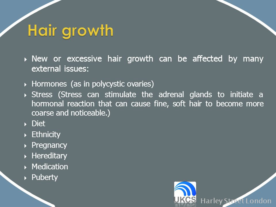  New or excessive hair growth can be affected by many external issues:  Hormones (as in polycystic ovaries)  Stress (Stress can stimulate the adren