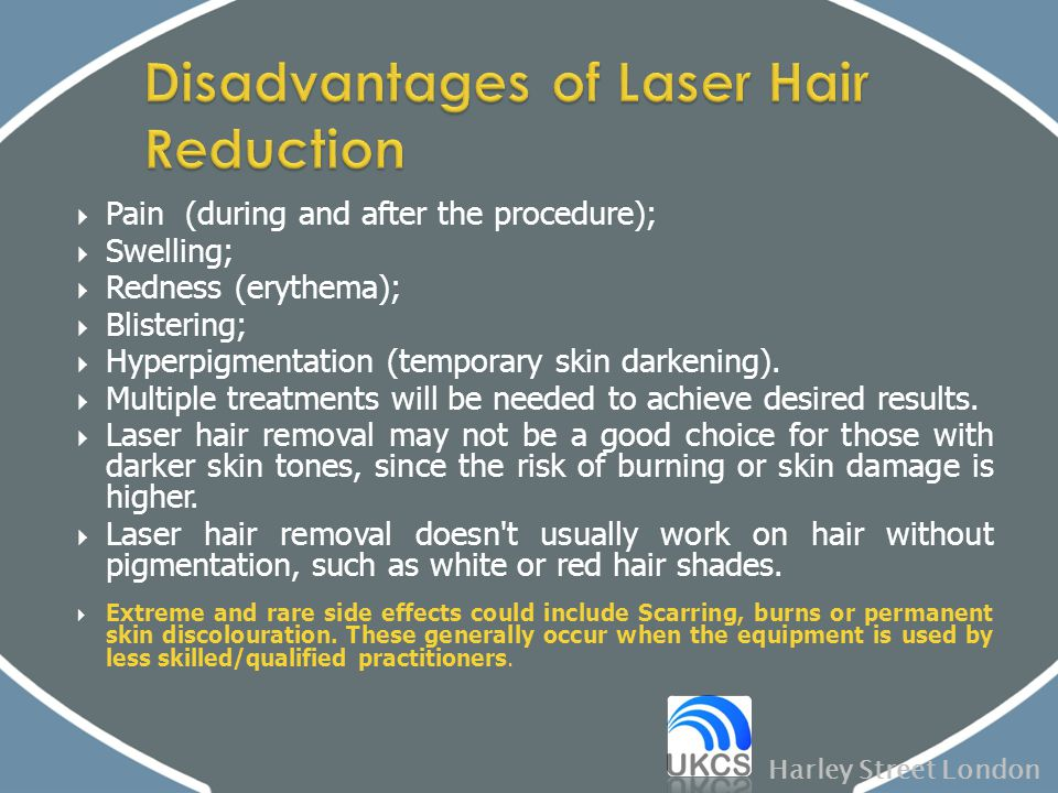  Pain (during and after the procedure);  Swelling;  Redness (erythema);  Blistering;  Hyperpigmentation (temporary skin darkening).  Multiple tr