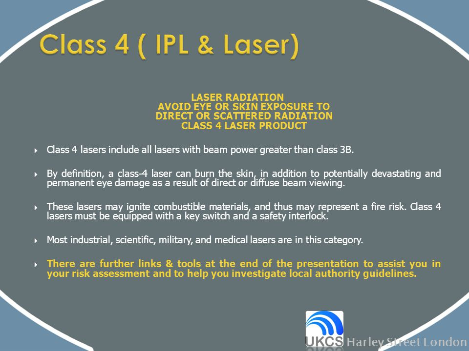 LASER RADIATION AVOID EYE OR SKIN EXPOSURE TO DIRECT OR SCATTERED RADIATION CLASS 4 LASER PRODUCT  Class 4 lasers include all lasers with beam power