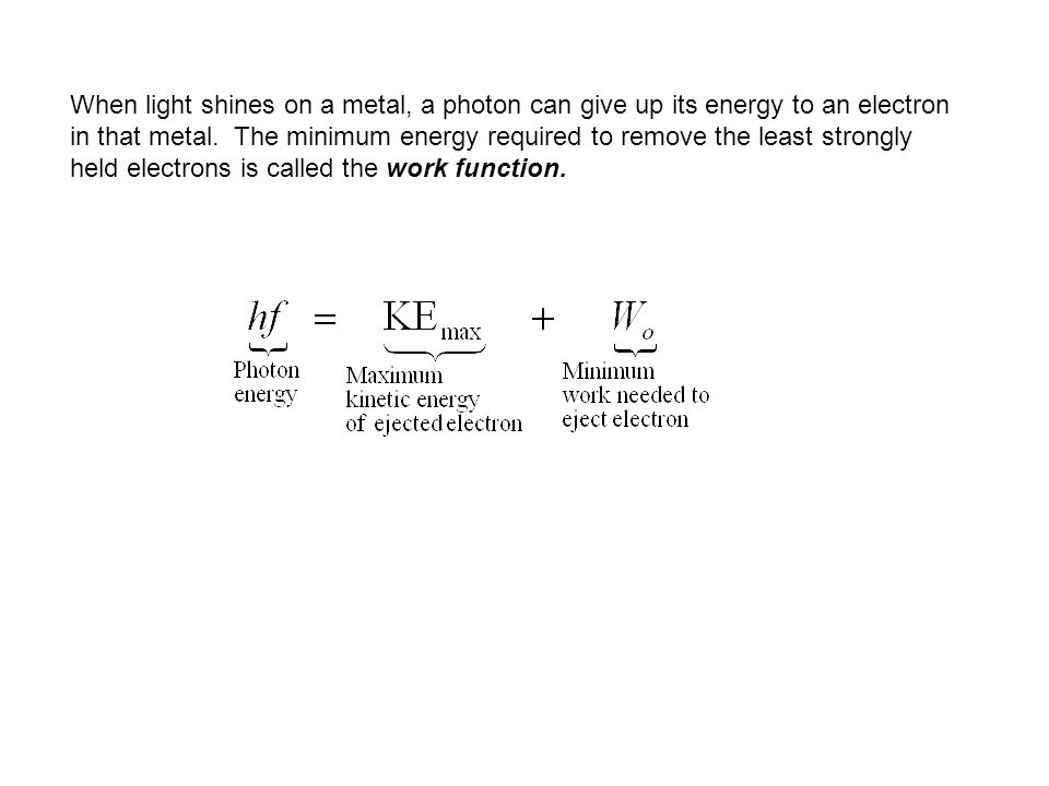 When light shines on a metal, a photon can give up its energy to an electron in that metal.