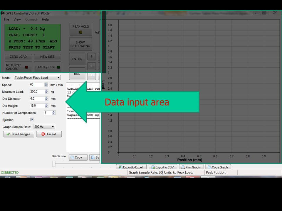 Data input area