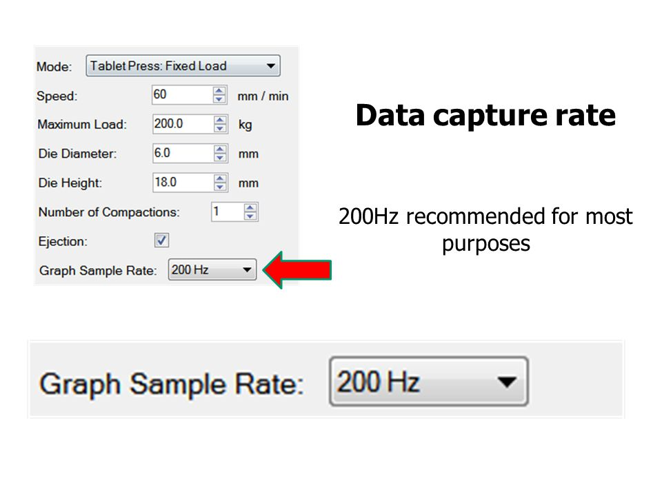 Data capture rate 200Hz recommended for most purposes