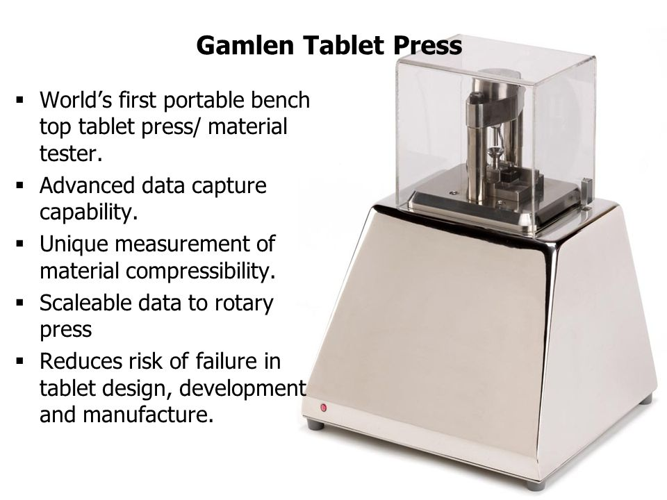 Gamlen Tablet Press  World's first portable bench top tablet press/ material tester.