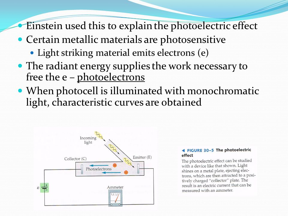 Einstein used this to explain the photoelectric effect Certain metallic materials are photosensitive Light striking material emits electrons (e) The r