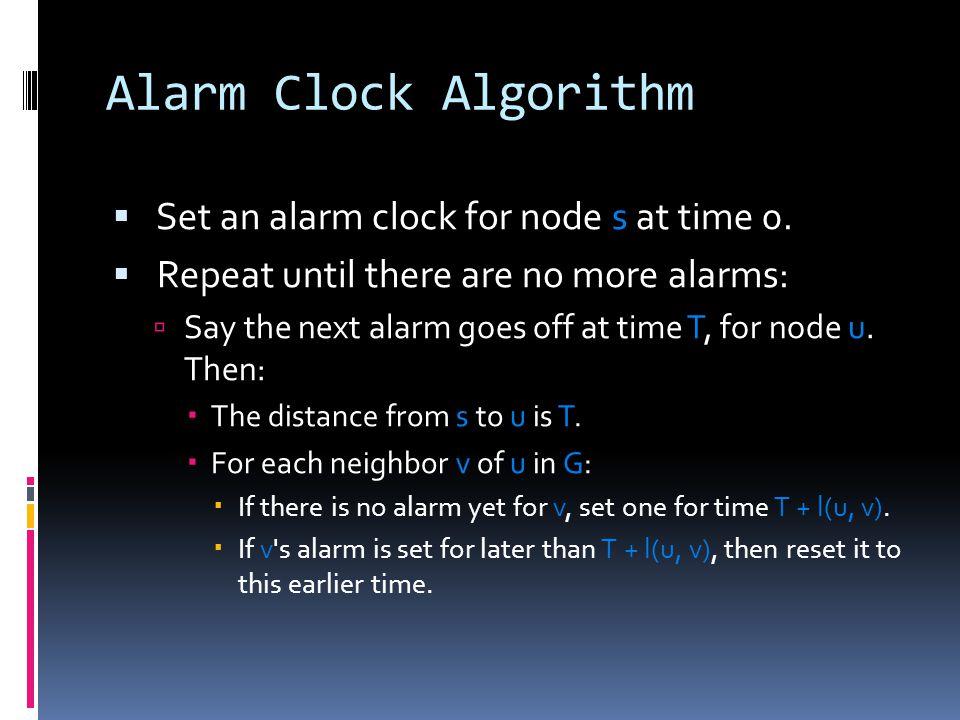 Alarm Clock Algorithm  Set an alarm clock for node s at time 0.