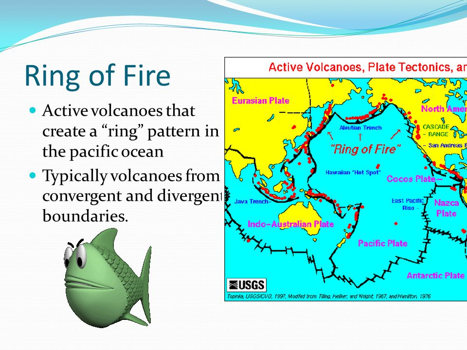 Ring of Fire Active volcanoes that create a ring pattern in the pacific ocean Typically volcanoes from convergent and divergent boundaries.