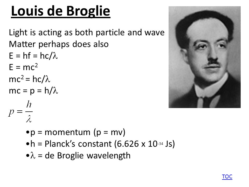 Louis de Broglie TOC Light is acting as both particle and wave Matter perhaps does also E = hf = hc/ E = mc 2 mc 2 = hc/ mc = p = h/ p = momentum (p = mv) h = Planck's constant (6.626 x 10 -34 Js) = de Broglie wavelength