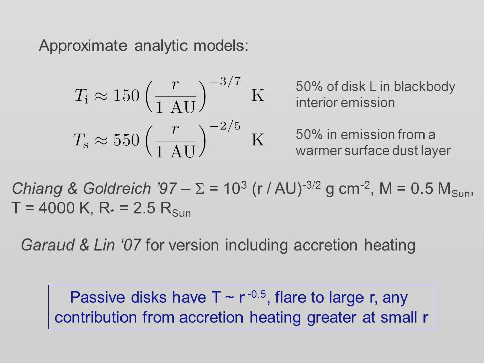 Approximate analytic models: 50% of disk L in blackbody interior emission 50% in emission from a warmer surface dust layer Chiang & Goldreich '97 – 