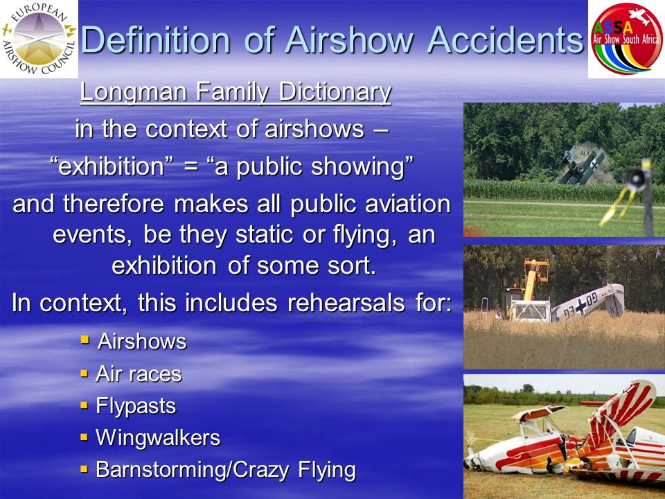Statistical Analysis 2012 Judgement Error = 42% Non Human Error = 50% Sample Size = 26 Airshow Accident/incident Analysis Human Judgement Error