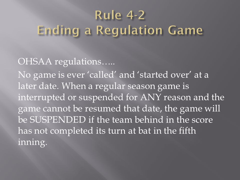 OHSAA regulations….. No game is ever 'called' and 'started over' at a later date. When a regular season game is interrupted or suspended for ANY reaso