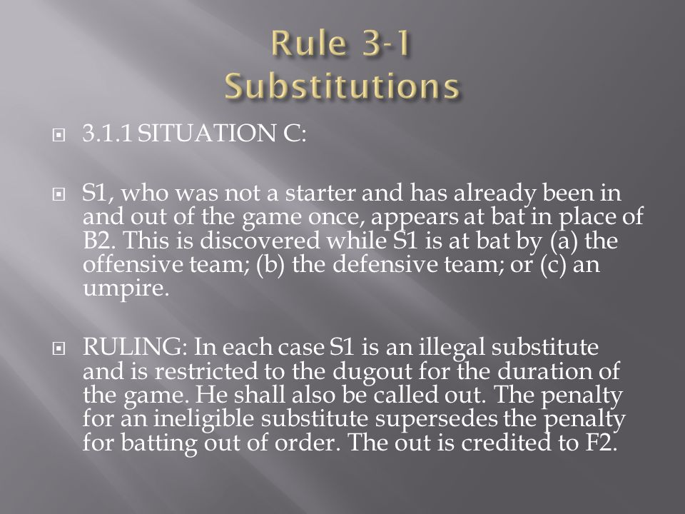  3.1.1 SITUATION C:  S1, who was not a starter and has already been in and out of the game once, appears at bat in place of B2. This is discovered w