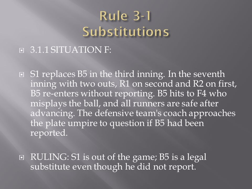  3.1.1 SITUATION F:  S1 replaces B5 in the third inning. In the seventh inning with two outs, R1 on second and R2 on first, B5 re-enters without rep