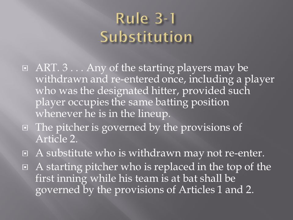  ART. 3... Any of the starting players may be withdrawn and re-entered once, including a player who was the designated hitter, provided such player ­