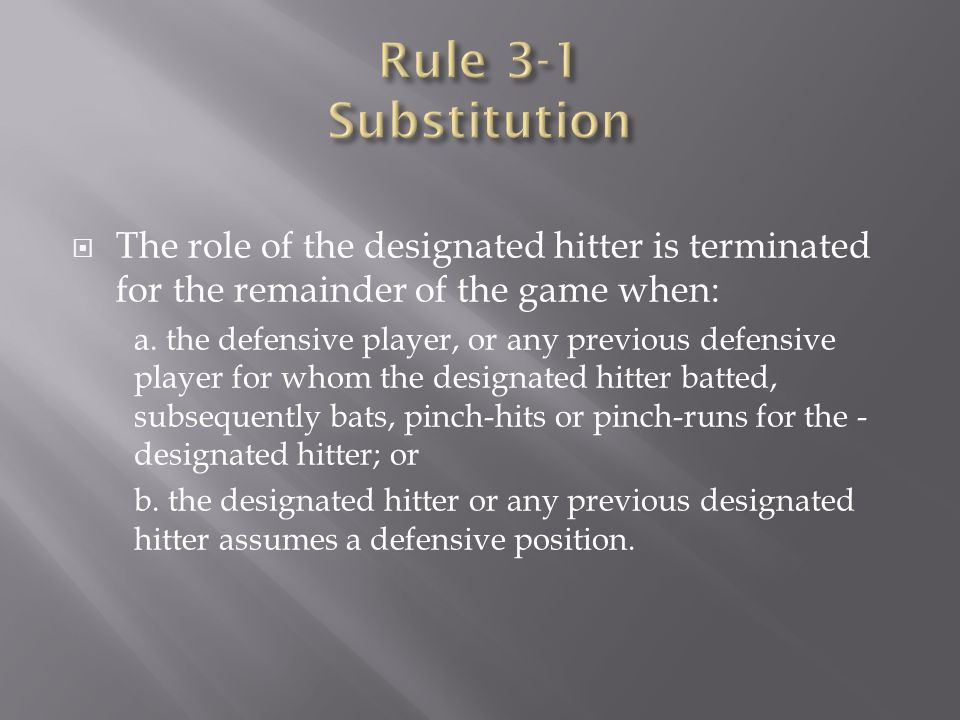 The role of the designated hitter is terminated for the remainder of the game when: a. the defensive player, or any previous defensive player for wh