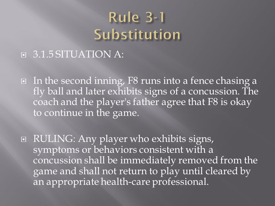  3.1.5 SITUATION A:  In the second inning, F8 runs into a fence chasing a fly ball and later exhibits signs of a concussion. The coach and the playe