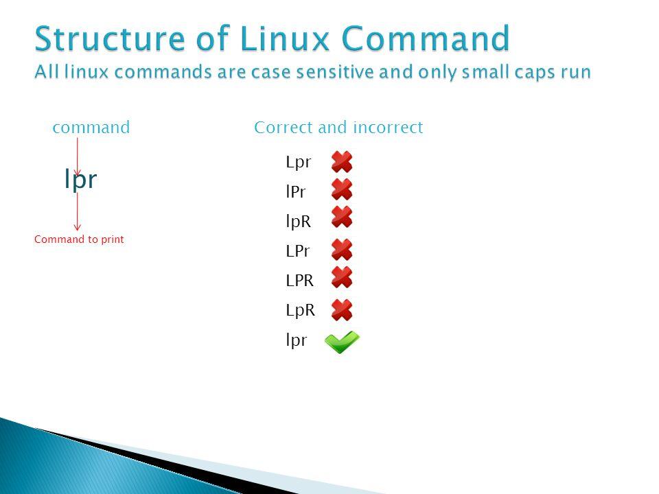 command lpr Command to print Lpr lPr lpR LPr LPR LpR lpr Correct and incorrect