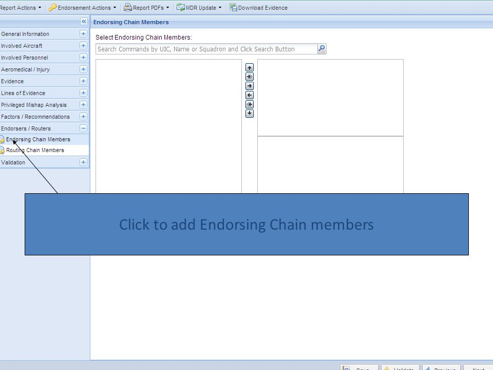 Click to add Endorsing Chain members