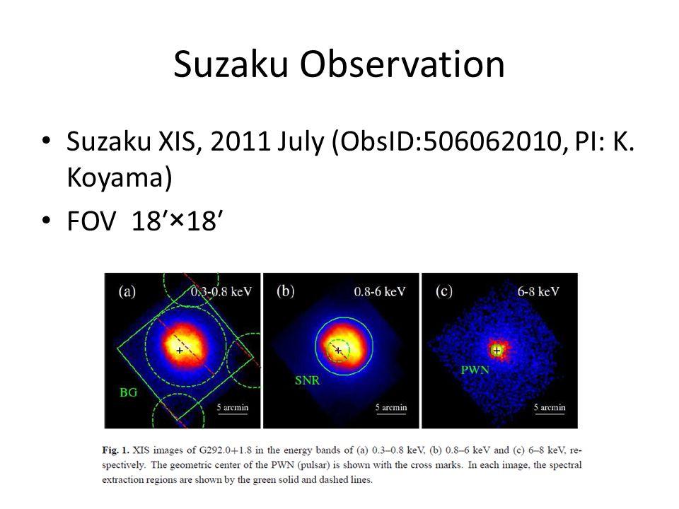 Suzaku Observation Suzaku XIS, 2011 July (ObsID:506062010, PI: K. Koyama) FOV 18′×18′