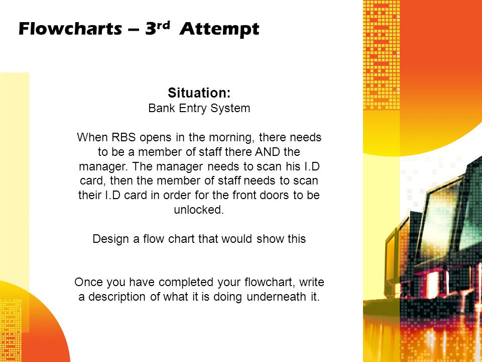 Flowcharts – 3 rd Attempt Situation: Bank Entry System When RBS opens in the morning, there needs to be a member of staff there AND the manager. The m