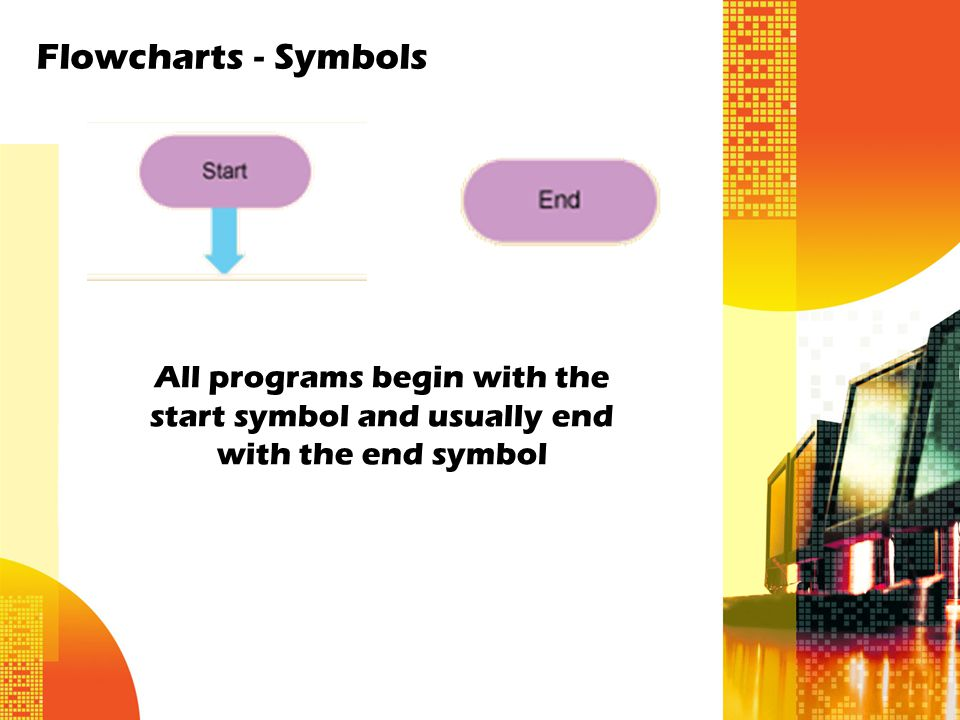 Flowcharts - Symbols All programs begin with the start symbol and usually end with the end symbol