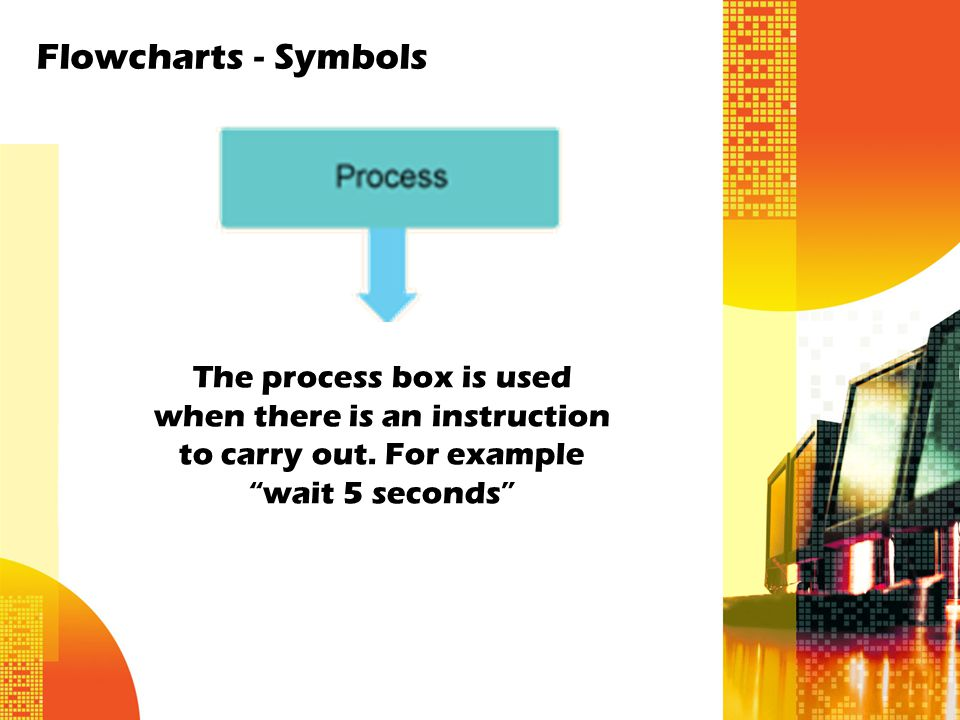 The process box is used when there is an instruction to carry out.