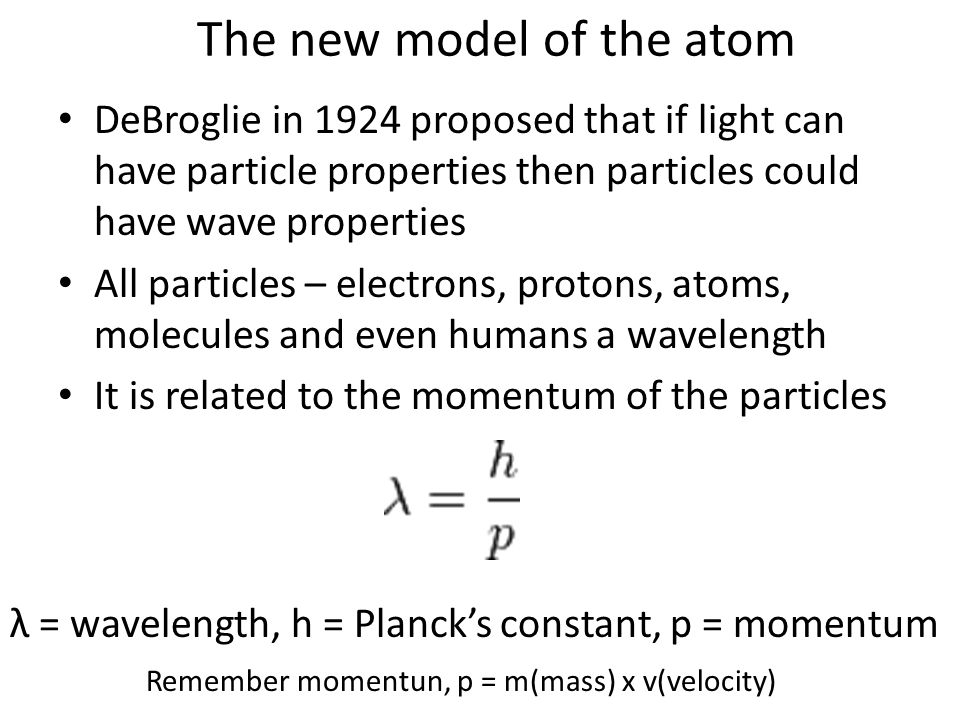 The new model of the atom DeBroglie in 1924 proposed that if light can have particle properties then particles could have wave properties All particles – electrons, protons, atoms, molecules and even humans a wavelength It is related to the momentum of the particles λ = wavelength, h = Planck's constant, p = momentum Remember momentun, p = m(mass) x v(velocity)