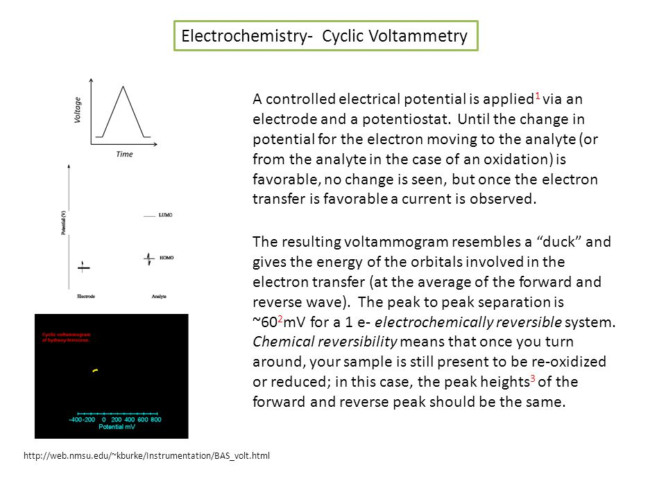Electrochemistry- Cyclic Voltammetry A controlled electrical potential is applied 1 via an electrode and a potentiostat.