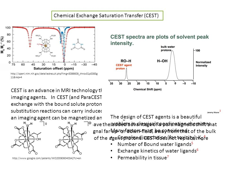 Chemical Exchange Saturation Transfer (CEST) http://openi.nlm.nih.gov/detailedresult.php img=3086609_thnov01p0083g 11&req=4 CEST is an advance in MRI technology that opens the doorway to using diamagnetic imaging agents.