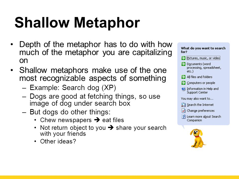 Shallow Metaphor Depth of the metaphor has to do with how much of the metaphor you are capitalizing on Shallow metaphors make use of the one most recognizable aspects of something –Example: Search dog (XP) –Dogs are good at fetching things, so use image of dog under search box –But dogs do other things: Chew newspapers  eat files Not return object to you  share your search with your friends Other ideas