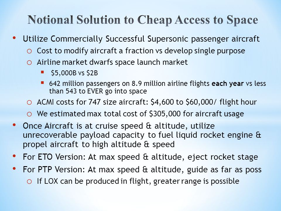 Utilize Commercially Successful Supersonic passenger aircraft o Cost to modify aircraft a fraction vs develop single purpose o Airline market dwarfs s
