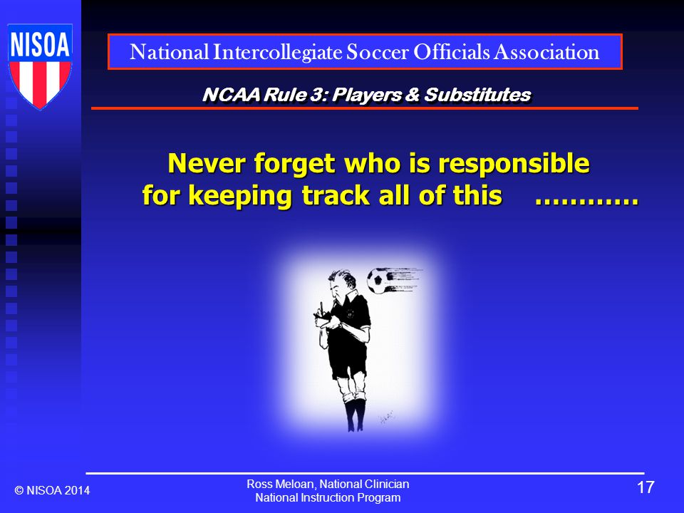 Ross Meloan, National Clinician National Instruction Program National Intercollegiate Soccer Officials Association © NISOA 2014 NCAA Rule 3: Players & Substitutes Never forget who is responsible for keeping track all of this ………… 17