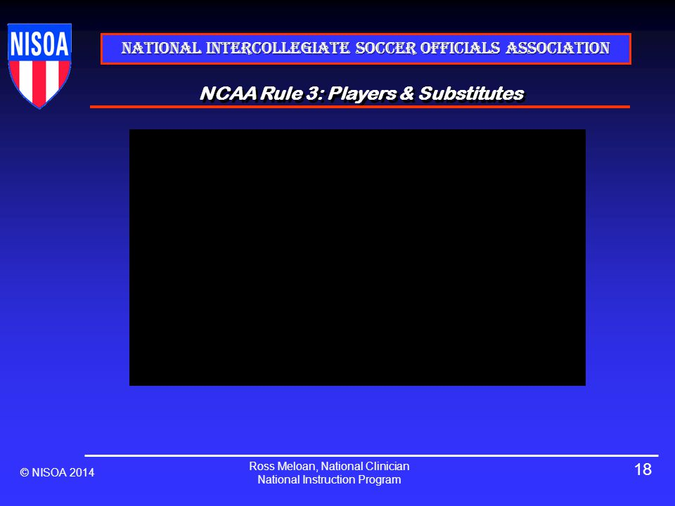National Intercollegiate Soccer Officials Association NCAA Rule 3: Players & Substitutes © NISOA 2014 Ross Meloan, National Clinician National Instruction Program 18
