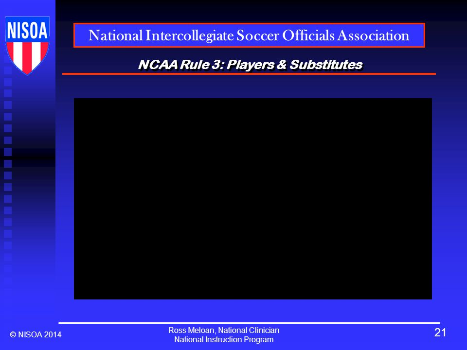 Ross Meloan, National Clinician National Instruction Program National Intercollegiate Soccer Officials Association © NISOA 2014 NCAA Rule 3: Players & Substitutes 21
