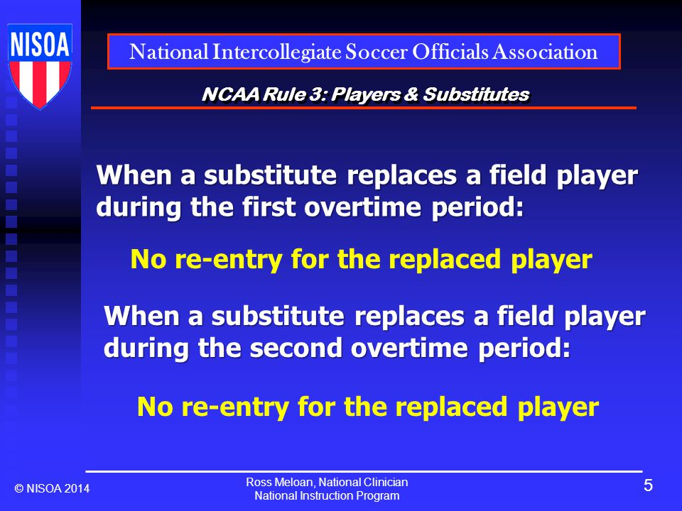 Ross Meloan, National Clinician National Instruction Program National Intercollegiate Soccer Officials Association © NISOA 2014 NCAA Rule 3: Players & Substitutes When a substitute replaces a field player during the first overtime period: No re-entry for the replaced player When a substitute replaces a field player during the second overtime period: No re-entry for the replaced player 5
