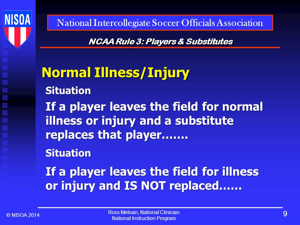 Ross Meloan, National Clinician National Instruction Program National Intercollegiate Soccer Officials Association © NISOA 2014 NCAA Rule 3: Players & Substitutes Normal Illness/Injury Situation If a player leaves the field for normal illness or injury and a substitute replaces that player…….